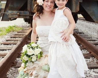 Ivory Flower Girl Dress, flower girl dress, toddler lace dress, boho flower girl dress, Weddings, Bridal Party dress, Size 2T 3T 4T 5 6 7 8