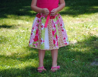 Strawberry Patchwork Skirt, Girls Skirt, Patchwork skirt, pink, size 2 3 4 5 6 7 8 9 10