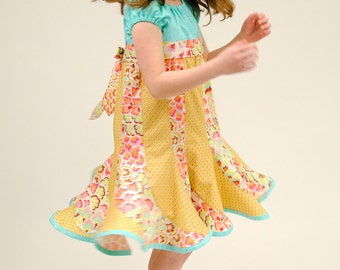 Girl's Dress, Twirly Dress, Peasant Dress, Children Clothing, Girl Dresses, Sundress, Child, Blue,Toddler, Size 2T 3T 4T 5 6 7 8