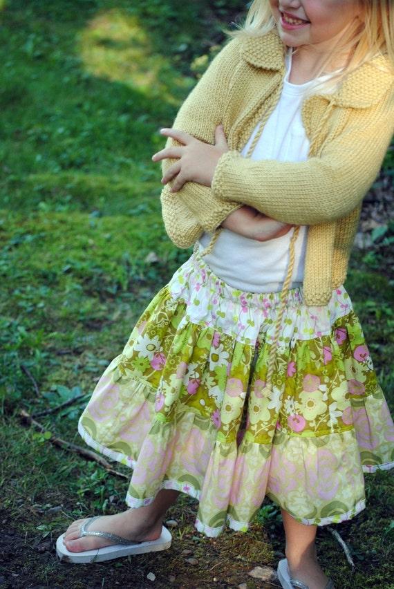 Blooming Flowers Girls skirt, girl's skirts, toddler skirts, girl's outfits, twirly skirt, Pink skirt, Green, size 2T, 3, 4, 5, 6, 7, 8