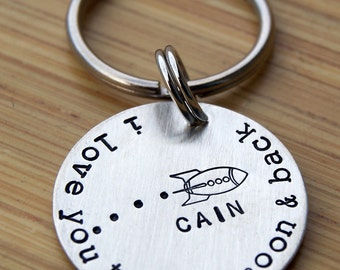 I love you to the moon and back keyring with name, personalized keychain