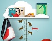 Growth chart wall decal, horses decal, girls name sticker, childs personalized wall decal, toddler growth scale, nursery, 36 inches tall
