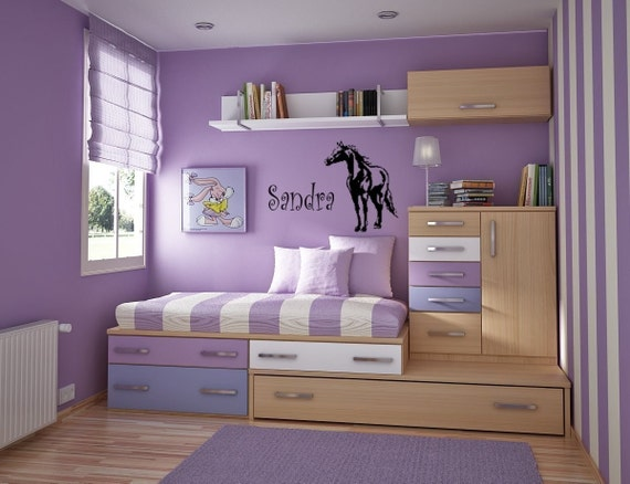 Horse wall decal, Name sticker, Personalized decal, Girls bedroom wall decal, Pony, Mustang-23 X 28 inches,67-HP