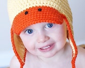 Just Ducky Earflap Hat Crochet Pattern *Instant Download* (Permission to sell all finished products)