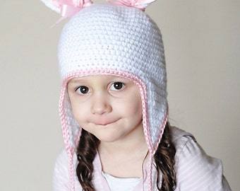 Bunny Earflap Hat Crochet Pattern *Instant Download* (Permission to sell all finished products)