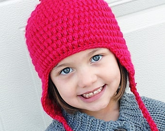 Puffy Earflap Hat Crochet Pattern *Instant Download*  (Permission to sell all finished products)