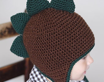 Spiky Dino Earflap Hat Crochet Pattern *Instant Download*(Permission to sell all finished products)