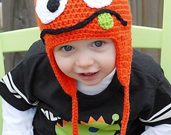 Silly Monster Earflap Hat Crochet Pattern *Instant Download* (Permission to sell all finished products)