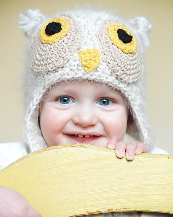 Owl Earflap Hat Crochet Pattern *Instant Download* (Permission to sell all finished products)