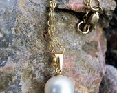 Freshwater pearl and gold necklace, pearl necklace, wedding jewelry, bridal necklace