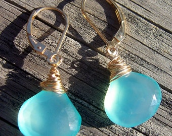 Aqua blue chalcedony and gold wire wrapped earrings, chalcedony jewelry