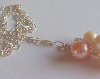 Freshwater peach pearl and crystal necklace, sterling silver, wedding jewelry, bridal jewelry