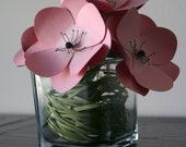 Pink Martini Anemones Paper Flowers in a Vase, Home Decor, Paper Art, Handmade Flowers, Table Decor, Wedding Decoration