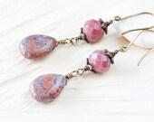 Purple Pink Stone Earrings - handmade brass dangle earrings, semi precious pink jasper teardrop and faceted rhodonite beads - brass earrings