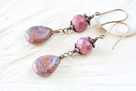 Purple Pink Stone Earrings - handmade brass dangle earrings, semi precious pink jasper teardrop and faceted rhodonite beads - brass earrings
