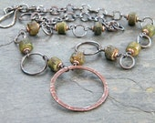 Olive Green Copper Necklace Eternity Ring Betel Nut Bead Round Link Rustic Artisan Jewelry