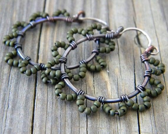 Olive Green Copper Hoop Earrings Sterling Silver Beaded Flower Petal Mixed Metal Artisan Jewelry