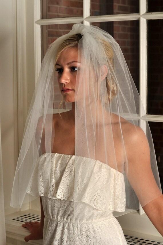Bridal Veil - Full Elbow Length Veil with Raw Cut Edge - READY TO SHIP - Ivory