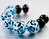 Blue Leopard Spots Lampwork Beads, Animal Print, Black Glass Spacers, Handmade SRA