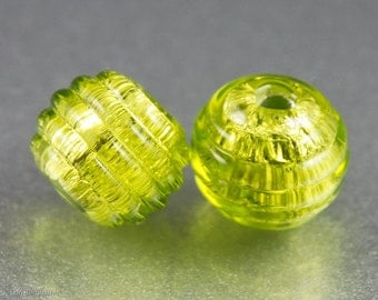 Peridot Green Lampwork Beads, Earring Pair, Ribbed Texture, Silver, Handmade SRA Glass