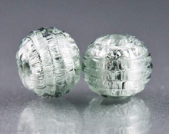 Antique Silver Handmade Lampwork Beads, Earring Pair, Ribbed Texture, Mercury Glass style