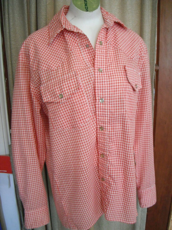 Western long sleeve gingham button up vintage shirt - size large