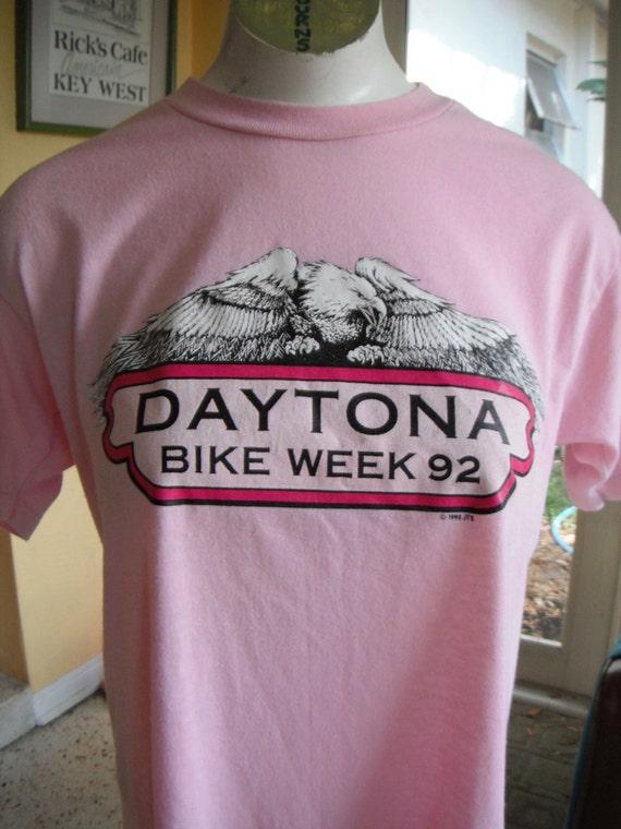 Vintage tee Daytona Bike Week 1992 pink biker size medium