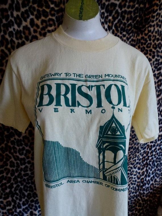 Vintage shirt Bristol Vermont - tan yellow size medium