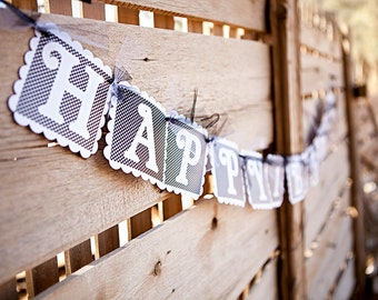 Black and White Polka Dotted HAPPY BIRTHDAY Banner - Birthday Party Decoration - Woman's Birthday Decor