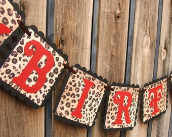 Sassy Red & Leopard HAPPY BIRTHDAY Banner with High Heel Stiletto Shoe - Woman's Leopard Birthday Sign - Made to Order