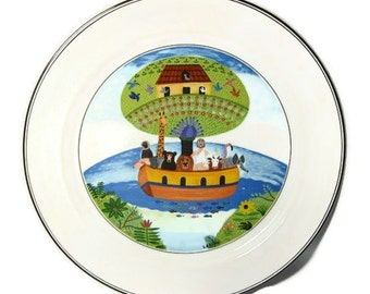 Noah's Ark by Villeroy and Boch Design Naif Pattern Chop Plate Round Platter Whimsical wall art