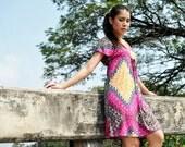 Pink Caftan Dress Short Sleeve Day Petite Mini Tribal Print Boho Bohemian Size XS US 2 UK 4 Fall Fashion Etsy Gift
