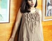 Sale Brown Ruffle Top Frill Tunic Beige Singlet Tank Petite Sleeveless Etsy Gift Fall Fashion