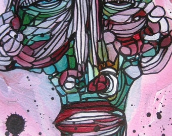 Original Painting Pink Guy Eclectic Funky Face Abstract  Portrait People