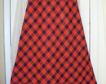 vintage bright red plaid wool maxi skirt
