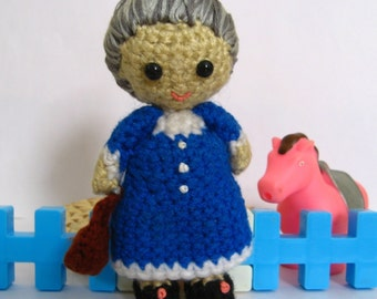 Amigurumi Granny Crochet Pattern PDF handmade plush grandmother softie doll making tutorial