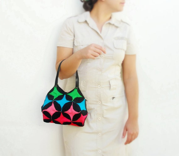 Rainbow Bag - Cathedral Window Quilting and Orinuno with upcycled Leather