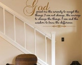 Extra Large Serenity Prayer Wall Decal - EXTRA LARGE 5 feet wide