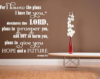 Scripture Wall Decal For I know the Plans I have for You    JEREMIAH 29 11   Huge Wall Decor