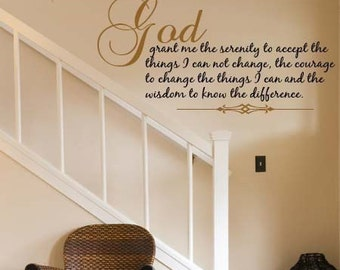 Wall Decal SERENITY PRAYER Vinyl Wall Decal Decor Art Quote