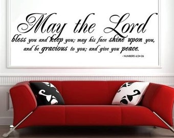 Wall Decal May the Lord Bless You and Keep You Scripture Wall Decal Quote Art   X LARGE 47x14