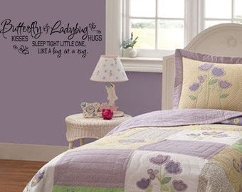 Wall Decal Butterfly Kisses - Childrens Wall Decal