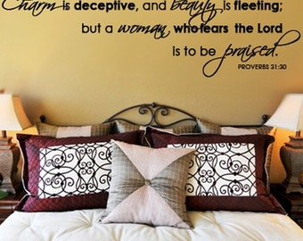 Wall Decal Scripture Charm is Deceptive Beauty Fleeting Woman Fears Lord Praised   PROVERBS  SCRIPTURE Vinyl Wall Decal
