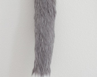 Faux Fur Fox Tail - Gray / Grey - Cosplay / Furry / Costume