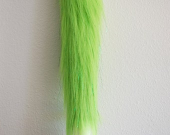 Faux Fur Sparkle Lime Green Fox Tail - Cosplay / Furry / Costume