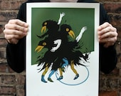 Inky Boys German Story, Original Screenprint, Hand-printed, Limited Ed