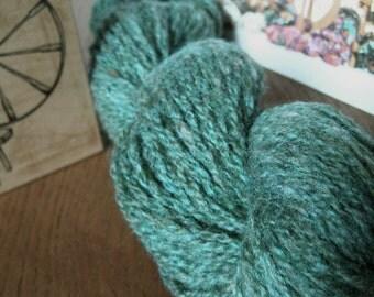 Pine Forest Green HANDSPUN MINI Skein - Wool Yarn - 48 yds, Worsted