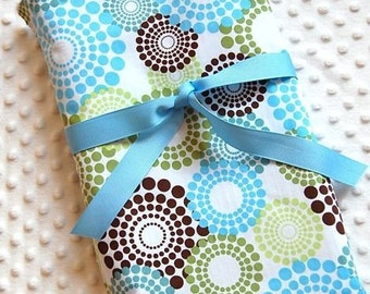 Baby Boy Blanket - Roundabout Blue Green Brown with Your Choice of Minky