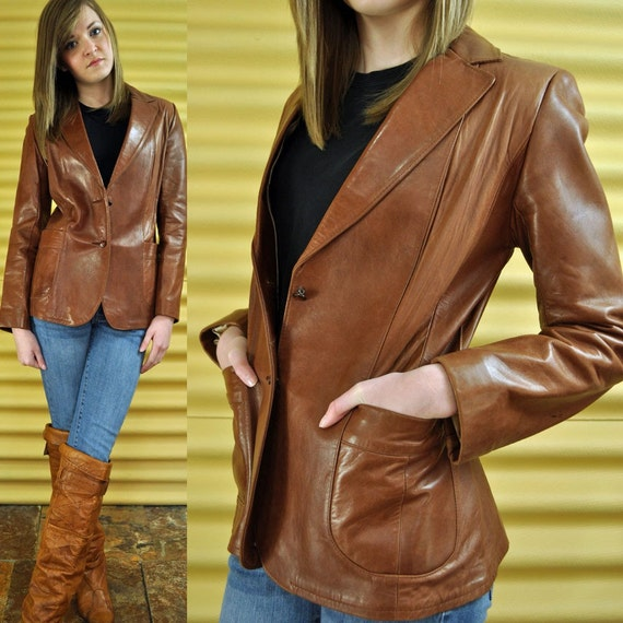 70s Womens Leather Blazer Leather Jacket / Slim Fit Brown Leather Boyfriend Blazer / Distressed Vintage Leather Hipster Jacket XS / S