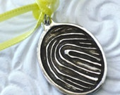 FINGERPRINT Jewelry Charm in silver Oval, Circle, Teardrop Pendant 4 Necklace